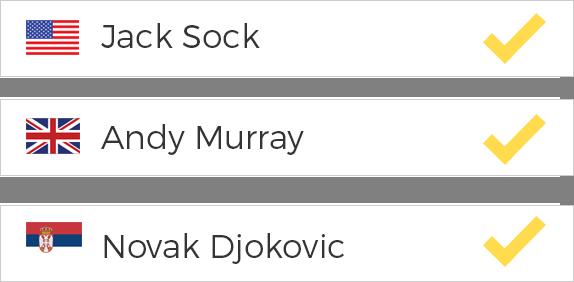 Wähle die 6 besten Tennisspieler